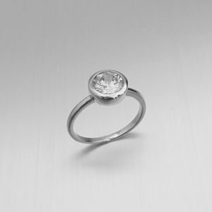 Jewelry - Sterling Silver Round Clear CZ Ring
